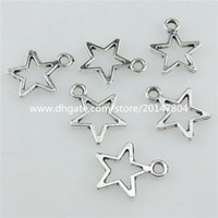 Wholesale Jewelry Point Star Pendant - 20720 100pcs Vintage Silver Alloy 14mm Five Point Star Pendant Jewelry Findings