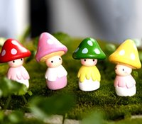 Wholesale Wholesale Collectible Figurines - 8pcs Mushroom Doll Resin Crafts Fairy Garden Miniatures Bonsai Tools terrarium Figurines Micro Landscape Dollhouse Toys DIY Home Decoration
