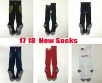 Wholesale Men Long Sport Socks - 17 18 New Season AC Milan soccer socks adult sport socks men's Knee High cotton soccer stocking thai quality Thicken Towel Bottom long hose