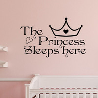 Wholesale princess room decor - Home Wall Art Princess sleeps here wall decals home decor art quote bedroom wallpaper wall sticker