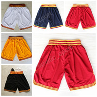 Wholesale White Basketball Pants - Cleveland 2 Kyrie Irving Basketball Shorts Men Breathable 0 Kevin Love Short Pant Embroidery Team Red Black White Yellow Navy Blue Quality
