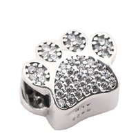 Wholesale paw print beads - Paw Prints Beads With AAA CZ Pave Footprints Beads Authentic 925 Sterling Silver Jewelry Fit DIY Brand Bracelet Jewelry Making Accessories