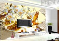 chinesische kulissen großhandel-Tapete 3d Tapete 3d der Skulptur Chinese Eagle Mountain Stereo Background für Fernsehhintergrund