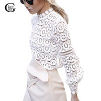 Wholesale Ladies Ruffled Lace Blouses - Lace Girl Autumn Spring Sexy Lantern Sleeve Women Lace Blouses Transparent 2016 Fashion Ladies Ruffles Hollow Out Shirts Tops