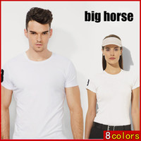 Wholesale Khaki Shirts For Women - fashion Mens big horse POLO shirt Short Sleeve for Man Solid color cotton polos men's brand lapel polo shirt for men women Free shipping