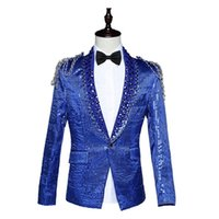 Wholesale Sequins Suits For Men - Hot Sale 2016 Red Blue White Long Sleeves Sequins Notched Suits Slim Stage Singer Solo Performance Costumes For Men