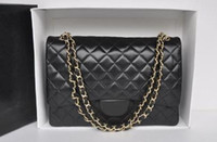 Wholesale Bags Xl - High Quality XL Classial 33CM Maxi Quilted Chain Black Genuine Lambskin Leather Double Flaps Fashion Shoulder Chain Bag Gold Hw