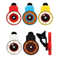Wholesale Len Clip Eye - Wholesale- Portable Multifunction 9 in 1 LED Fill Lights with Wide Angle Fish Eyes Len Clip-on Phone Selfie Speedlite 8 Flash Lamp