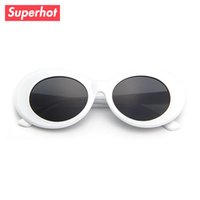 Wholesale Titanium Rimless Glasses Men - Clout goggles Retro Vintage White Oval Sunglasses Men Women Sun glasses NIRVANA Kurt Cobain Shades UV400 D0197