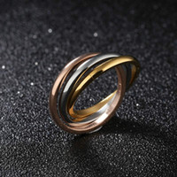 Bohemian stacked gold rings - Fashion Womens Titanium Stainless Steel Rings Dome Tri Roll Links Band Stacked Interlocked Polished ring Women Party Rings necklaces hot