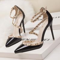 Wholesale stiletto party pumps for sale - 2018 fetish red high heels women shoes wedding shoes Rivet mary jane pumps escarpins femme ladies lolita gladiator sandals women valentine