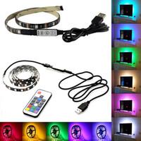 iluminación de cinta led rgb al por mayor-Tira de luz LED USB DC5V RGB Tira flexible 5050 SMD Cinta Cinta adhesiva TV Iluminación de fondo