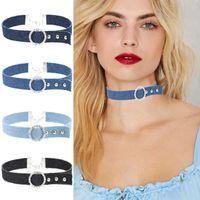 Wholesale Velvet Choker Necklaces - New Arrival Denim choker Necklace Femme bijoux collier ras du cou velvet Tattoo chockers jewelry Collana women Mujer joyeria 162000