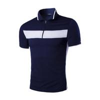 Wholesale Design Polo T Shirts - Summer British Brief Design Men Polo Shirt Short Sleeve Zipper Pullover Men T-shirts Cotton Turn-over Neck Sport Polo For Men J160313