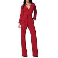 uzun gevşek rompers toptan satış-Toptan-Uzun Siyah Kırmızı Rompers Bayan Tulum Kış Sonbahar Parti seksi tulumlar kadınlar için V Yaka sashes Tam Kol Gevşek Kulübü Pantolon