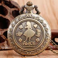Wholesale Ladies Watch Rabbit - Wholesale-Classic Alice in Wonderland Rabbit Flower Pocket Watch Necklace Pendant Women Ladies Hot Quartz Retro Bronze Fashion Chain Gift