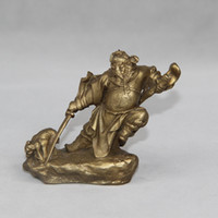 Wholesale Chinese Figurines Statues - Chinese Taoism Copper Brass catch ghost God Zhong Kui Fearless statue Figurine home decoration