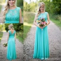 Wholesale Turquoise Formal Bridesmaid Dress - Turquoise Long Chiffon Country Bridesmaid Dresses 2017 Lace Jewel Neck Zipper Back A-line Floor Length Maid of Honor Dress Cheap Formal Gown