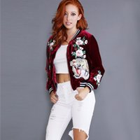 Wholesale Jaqueta Floral - Wholesale- 2016 fashion plus size embroidered velvet bomber jacket women Casual Coat tiger rose Outerwear Trendy Jacket jaqueta feminina