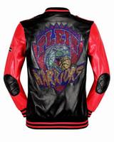 Wholesale Genuine Leather Long Coats - Top Brand Fashion Desinger Rhinestone Faux Leather Punk jacket brand PF55 Coats PU Leather Slim Fit Sporty Style Men Casual Jacket M-3XL