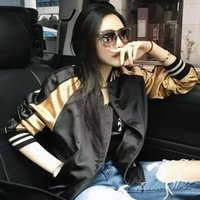 Wholesale Angels Jackets - Wholesale- New Arrival Autumn Fashion Couples Ladies Baseball Jackets Coat Color Matching Satin Embroidery Angel Wings Women Bomber Jackets