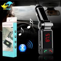 cargador mp3 mini al por mayor-BC06 cargador de coche bluetooth BT cargador de coche MP3 BC06 mp3 reproductor MP4 mini puerto dual AUX FM transmisor DHL Fedex gratuito
