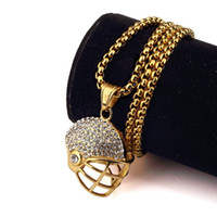 Wholesale Crystal Football Charms - 18K Gold Plated Bling Sport Football Helmet necklaces Hip Hop Jewelry Gifts Crystal Chains Men Women Titanuim steel pendants