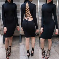 Wholesale Evening Midi Dresses - Vestidos Casual Dress Nigth Club Midi Pencil Bodycon Sexy Backless Mesh Cross Evening Party Bandage Dresses