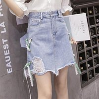 Wholesale Virtual Woman - 2017 summer new Korean version, wash water break, virtual side, side lacing, bust skirt, A word,jeans woman skirt skirts embroidered jeans
