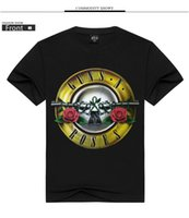 Wholesale rock band s - 2017 Fashion Rock guns and roses short sleeves T-shirts men's women's guns flower band casual cotton large size short t
