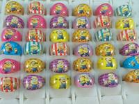 fête d'anniversaire de minions achat en gros de-gros 200pcs / lot Minions Résine Anneaux Enfants Filles enfants Anniversaire Cadeau De Fête De Noël