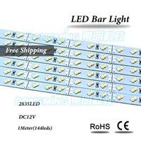 Wholesale Stip Led Lights - 1m LED bar light 144leds IP22 12V double row led rigid stip 2835 SMD white warm white