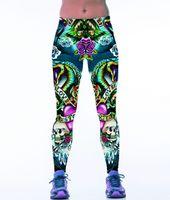 Wholesale Workout Pants For Women - Wholesale- Gothic Punk Rock Leggings Fitness Women Workout Leggings 3D Print Body Building Pants High Waist Fitness Leggings for Exercise
