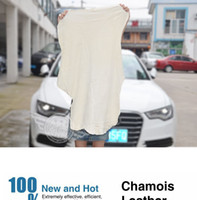 Wholesale Shammy Cloth - Free Shipping Drying Cleaning Towel Natural Genuine Leather Chamois Shammy Sponge cloth Sheepskin Absorbent Towel Car Washing