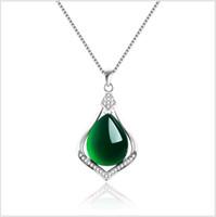 korece taş takı toptan satış-Doğal Yeşim Yeşil Taş Charms Kolye Kolye Kadınlar için 925 Ayar Gümüş Kalsedon Kore Güzel Takı Düğün Nişan hediyeler