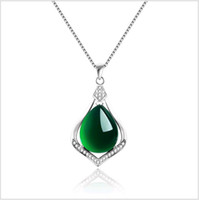 Wholesale korean silver heart necklace resale online - Natural Jade Green Stone Charms Pendants Necklace Sterling Silver Chalcedony Korean Fine Jewelry for Women Wedding Engagement gifts