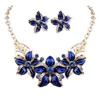 Wholesale Girls Indian Dresses - New Jewelry Sets Necklace Earrings Crystal Enamel Flower African Maxi Statement Jewelry Wedding Bridal Pendant Dress Accessories wholesale