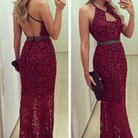 Wholesale Maxie Dresses - Elegan Red Royal Lace Evening Dresses For Women 2017 Sexy Hollow Out Female Prom Party Dresses Backless Women Long Event Maxie Dresses