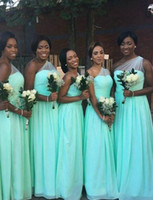 Wholesale Turquoise One Shoulder Bridesmaid Gowns - Vestido de festa Turquoise One Shoulder Long Bridesmaid Dresses African Floor Length Beach Wedding Party Gowns Cheap Under 100