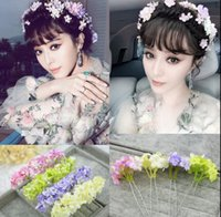 Wholesale Diamond Ball Plug - Wholesale 2017 latest flower fairy simulation floret hair plug Bob bride headdress flower free delivery
