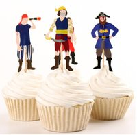 Atacado-24pcs / lot Pirate Captain Party Supplies Cartoon Cupcake Toppers Escolha Decoração de aniversário Kids Party Favors Picks do bolo