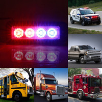 4 LED 4W Flash Warning Strobe Emergency Light Grille Beacon Lampe Red Blue Car