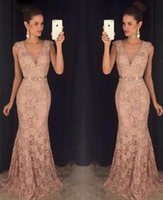 Wholesale Cocktail Long Dress For Bridesmaid - Full Lace V Neck Prom Gown Long Mermaid Evening Cocktail Formal Party Ball Bridesmaid Dress for Sale