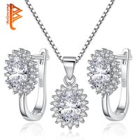 BELAWANG Wholesale Sliver EarringsNecklaces Set 925 Sterling Silver Oval Sparkling Cubic Zirconia feminino Elegant Wedding Bridal Jewelry Set