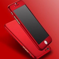 Wholesale Case Capa - 2017 New Hybrid 360 Case Hard Ultra thin Capa Cover For fundas iPhone 6 6S Plus 7 7 Plus Phone Case + Tempered Glass