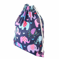 Wholesale Ports Kid - Wholesale- Fashion Women Drawstring Bags High-capacity Blue Elephant Printing Kids Candy Bags Beam Port bolsa feminina para mujer gift 2017