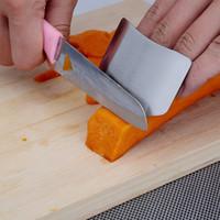 parmak bıçağı koruyucusu toptan satış-Parmak Koruyucusu Anti Kesim Paslanmaz Çelik El Guard Kalkan Tasarım Bıçak Kesme Parmaklar Pratik Mutfak Aracı 1 adet Korumak