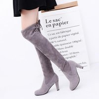 Wholesale Elegant Tie Back - Super Elegant 2017 New Spring Autumn Winter Women ladies Sexy suede over the knee thigh high block heel lace the tie back boots