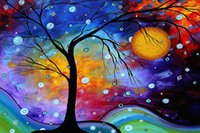 Wholesale Colorful Abstract Art Oil Paintings - 5D Diamond Embroidery Modern Oil Colorful Trees Painting Artwork Abstract Wall Art Picture Prints Home Decor
