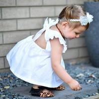 roupas de criança dressy venda por atacado-Ins verão bebê meninas algodão dress fly manga backless bonito tops mini dress princesa causal vestido branco crianças dressy clothing